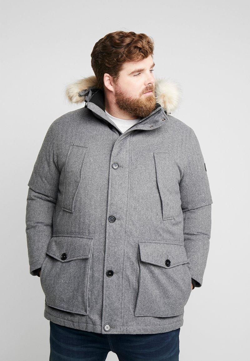 TOM TAILOR MEN PLUS - PADDED WINTERJACKET WITH HOOD - Kurtka zimowa - mottled grey