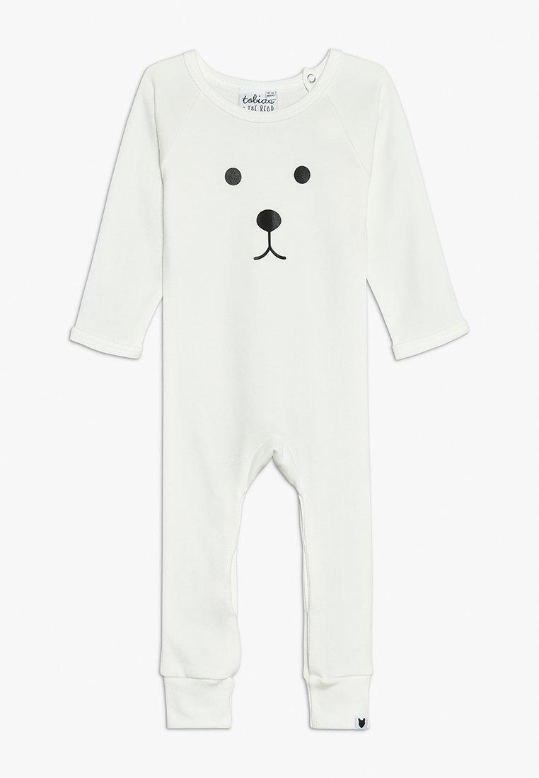Tobias & The Bear - BABY BEAR FACE LONG ROMPER - Pyjamaser - white