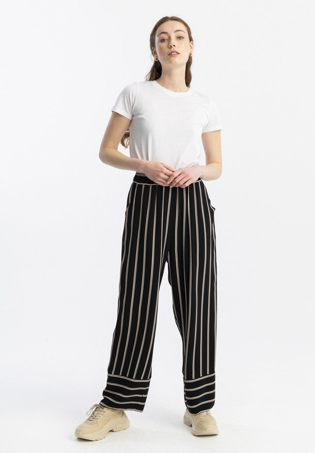 ELASTIC WAISTED STRIPED - Trousers - black
