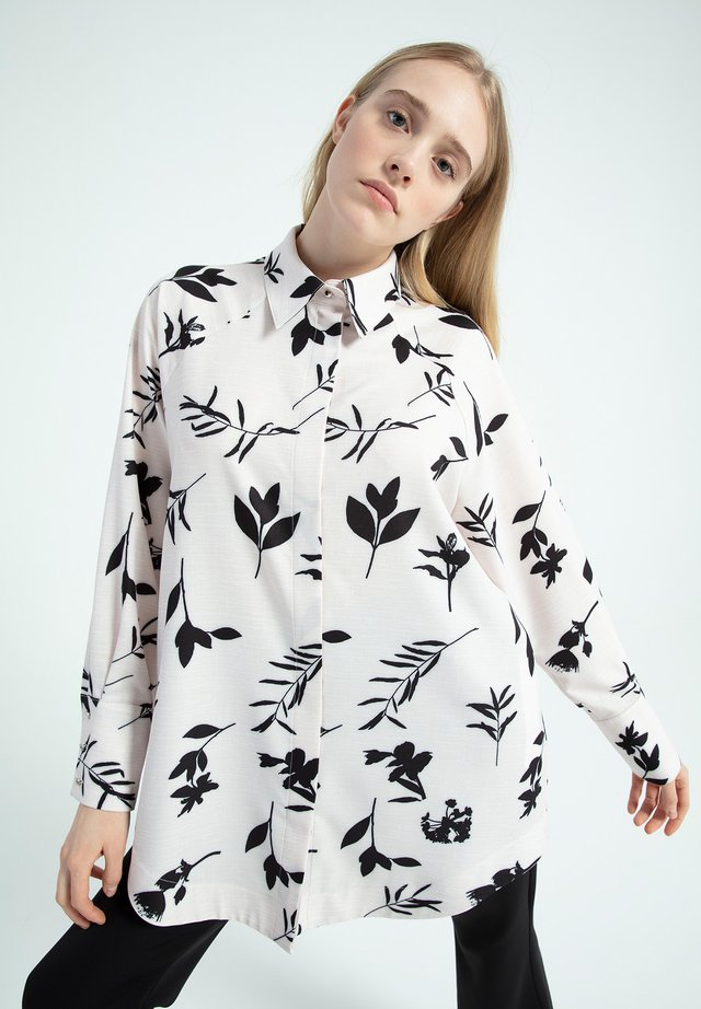 LEAF DESIGNED - Button-down blouse - beige