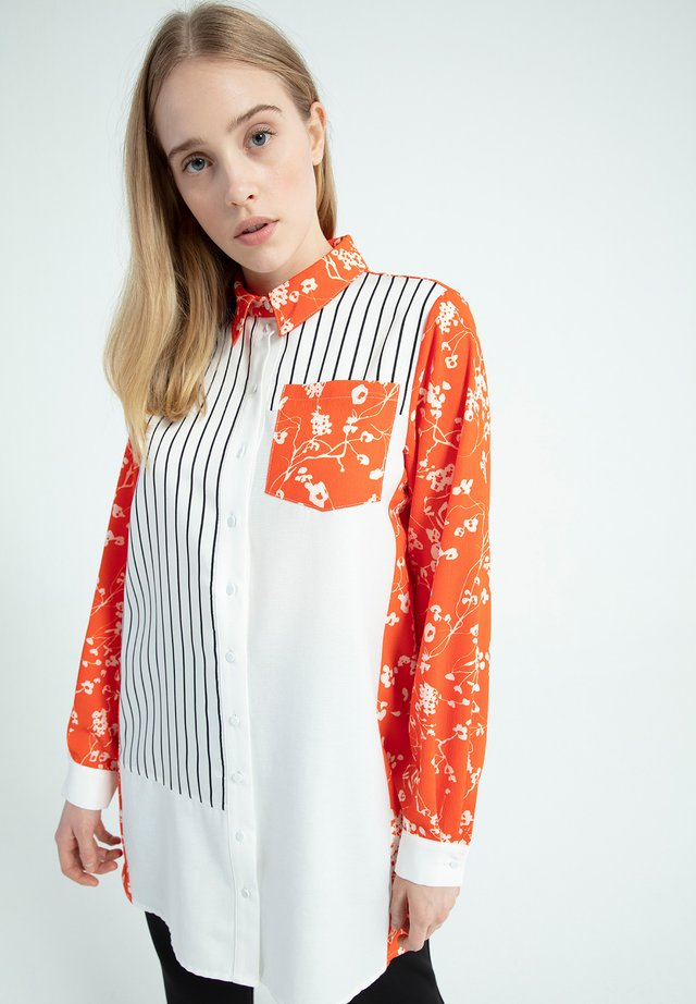 Button-down blouse - orange