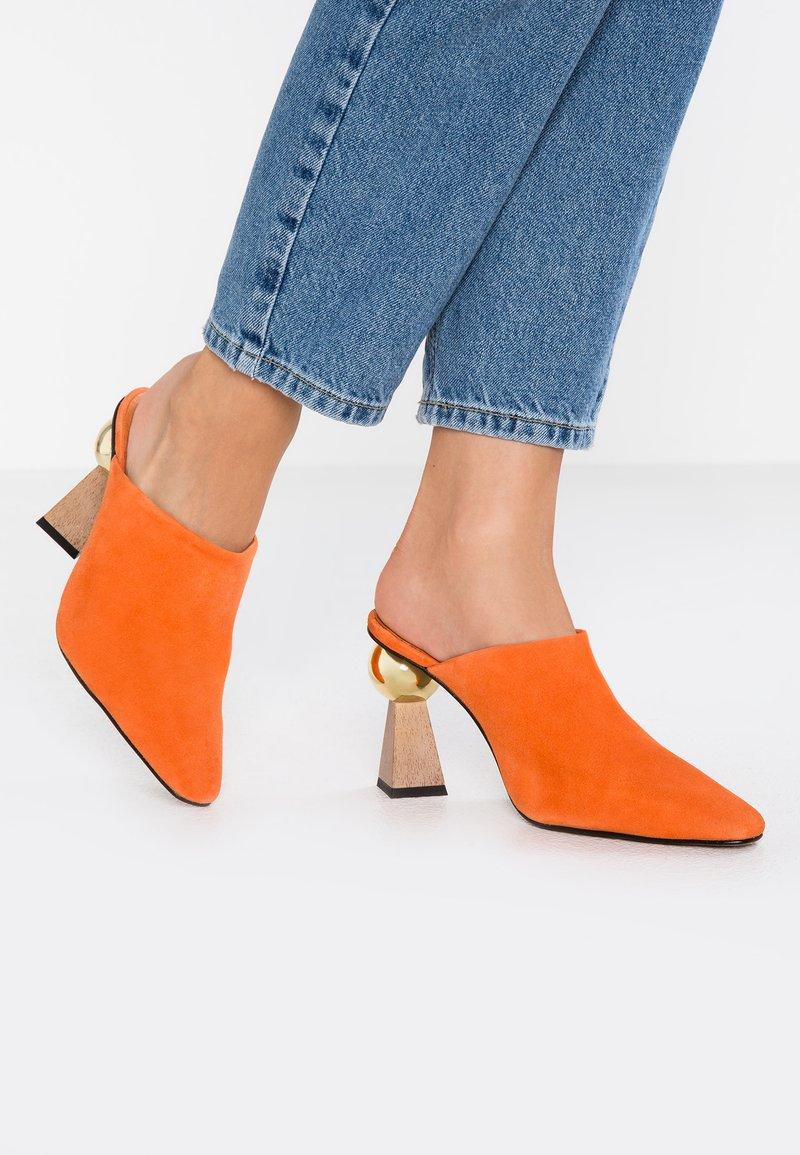 Topshop - GALA SCULPTURED HEEL - Heeled mules - orange