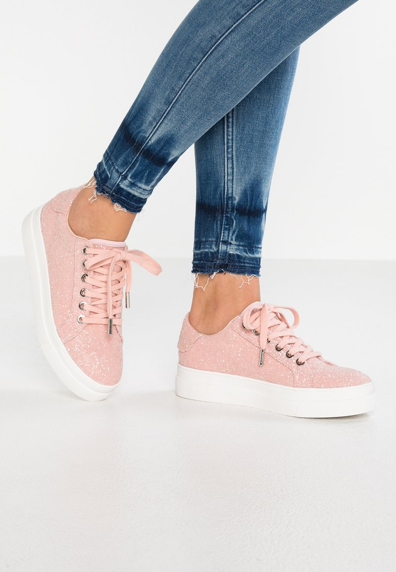 Topshop - CANDY LACE UP - Trainers - pink glitter
