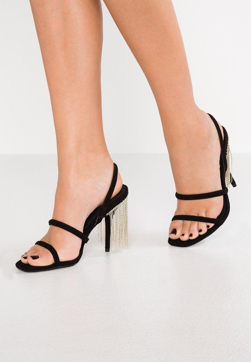 Topshop - RAIN FRINGE - Højhælede sandaletter / Højhælede sandaler - black