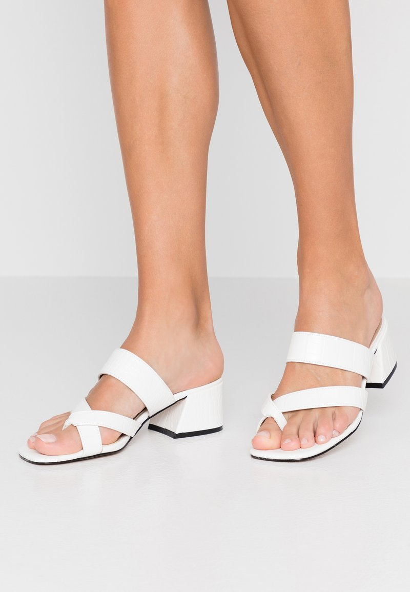 Topshop - DARCY TOE LOOP  - Heeled mules - white