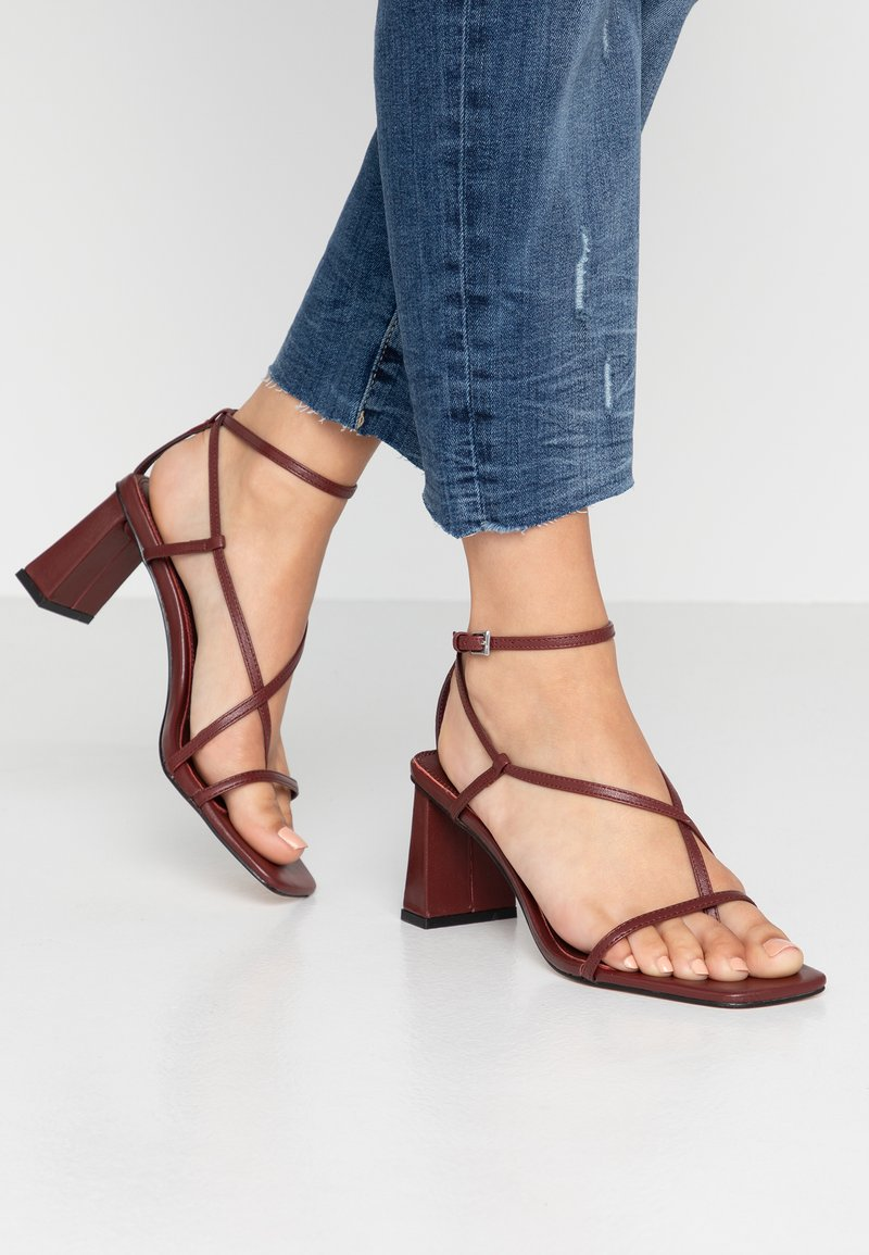 Topshop - NICO HEEL - T-bar sandals - burgundy