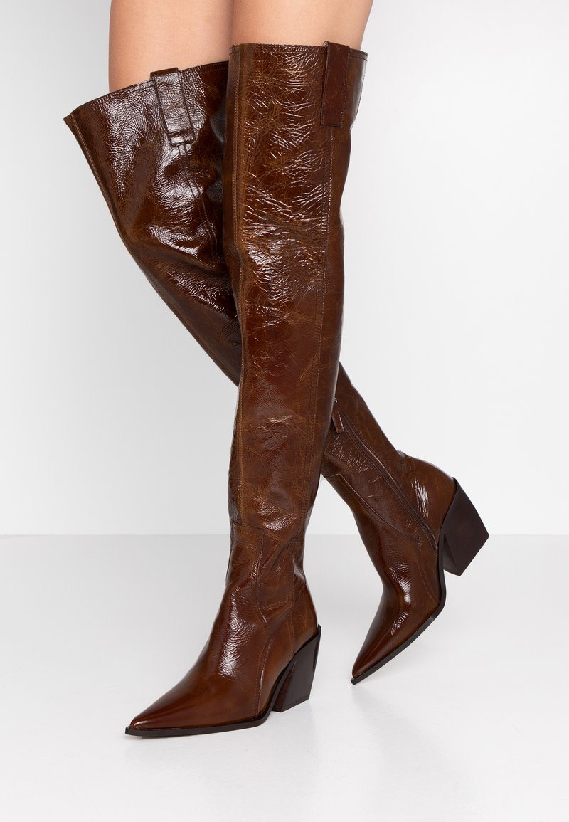 Topshop - BRAVE WESTERN - Over-the-knee boots - tan