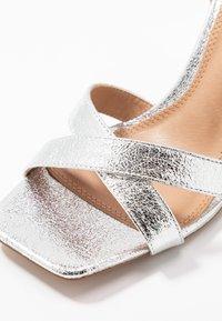 Topshop - SACHA BLOCK ANKLE TIE - Sandali con tacco - silver - 2