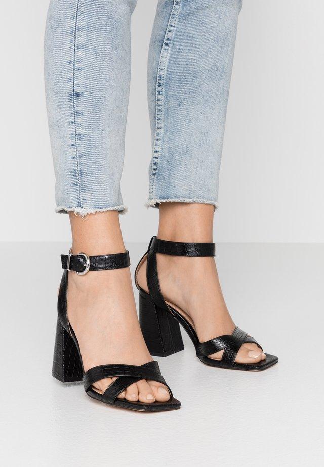 SACHA BLOCK ANKLE TIE - Sandalen met hoge hak - black
