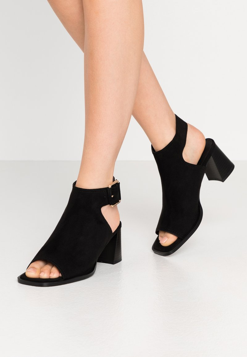Topshop - DAISY BUCKLE BOOT - Ankle cuff sandals - black