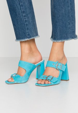 REGINE BUCKLE MULE - Pantofle na podpatku - blue