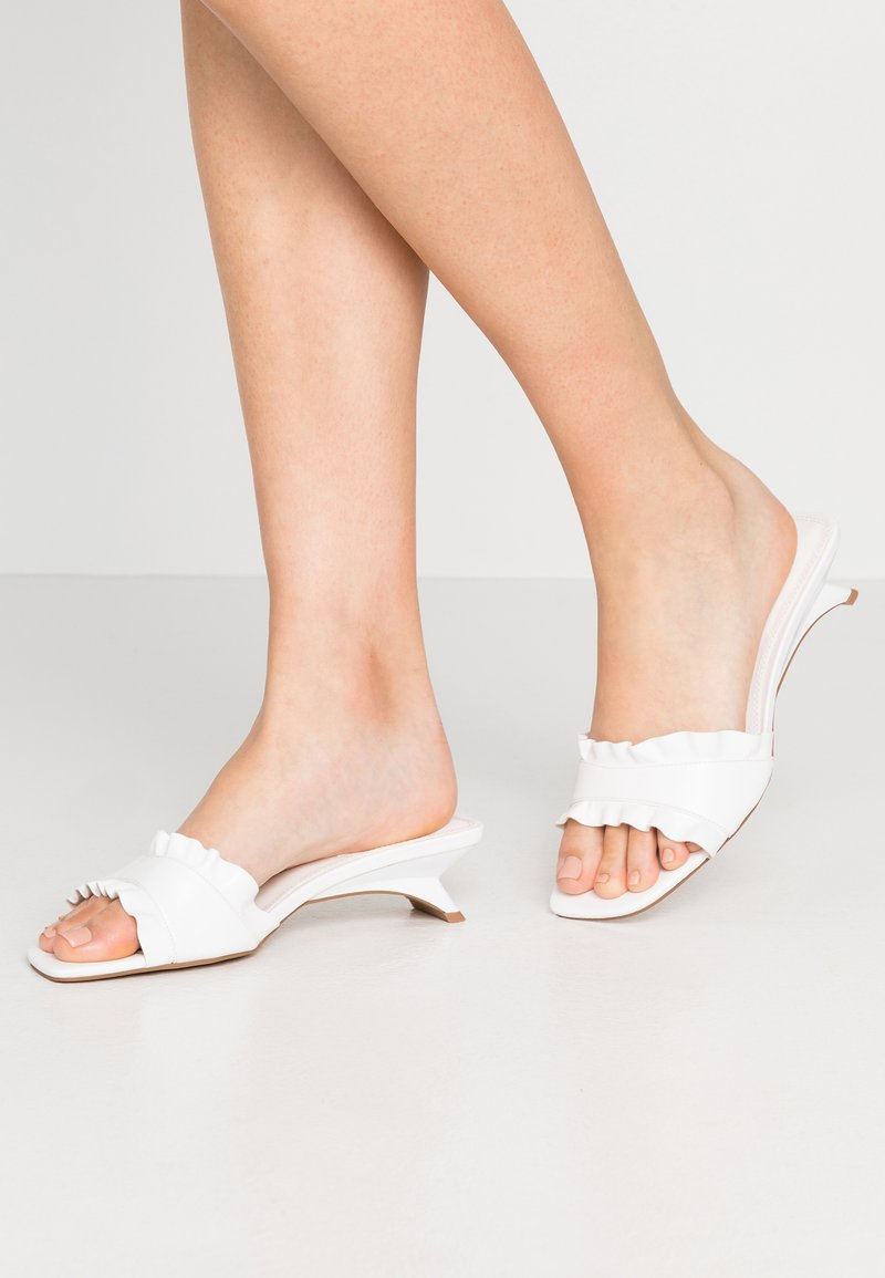 Topshop - FRILL MULE - Mules - white