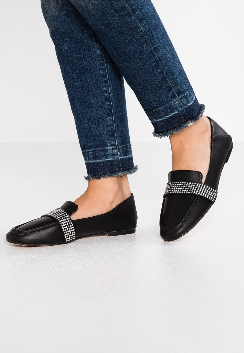 Topshop - LOUISIANA STUD LOAFER - Instappers - black