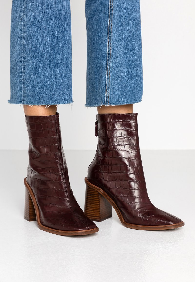 Topshop - HERTFORD BOOT - High heeled ankle boots - burgundy