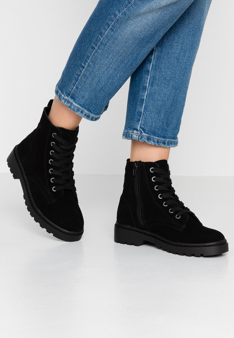 Topshop - BUMBLE LACE UP BOOT - Lace-up ankle boots - black