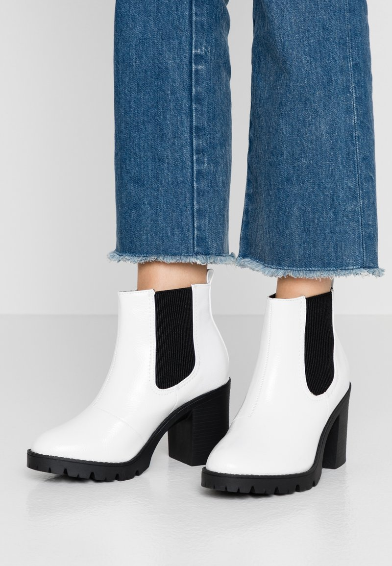 Topshop - BYRON UNIT - High heeled ankle boots - white