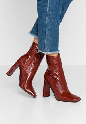 HALIA SQUARE TOE - High heeled ankle boots - tan