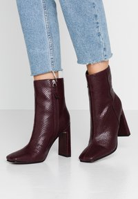 Topshop - HALIA SQUARE TOE - High heeled ankle boots - burgundy - 0