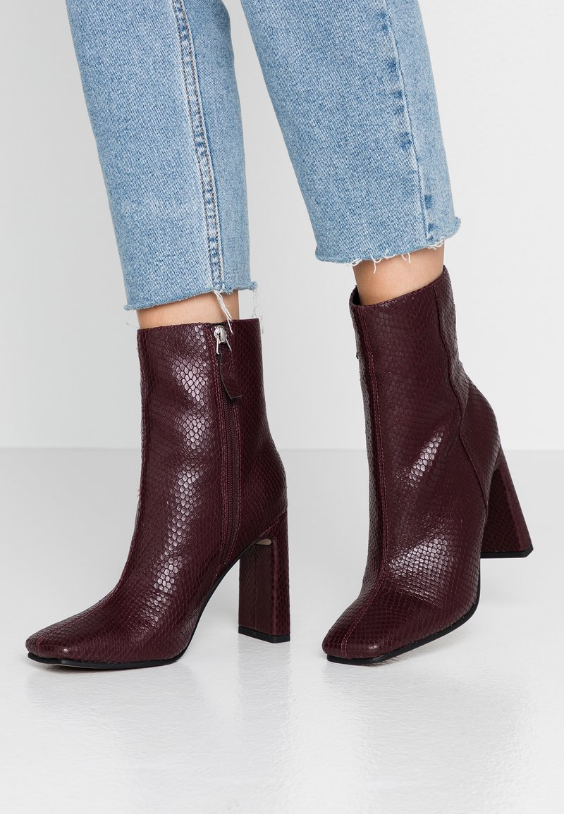 Topshop - HALIA SQUARE TOE - High heeled ankle boots - burgundy