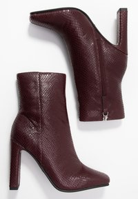 Topshop - HALIA SQUARE TOE - High heeled ankle boots - burgundy - 3
