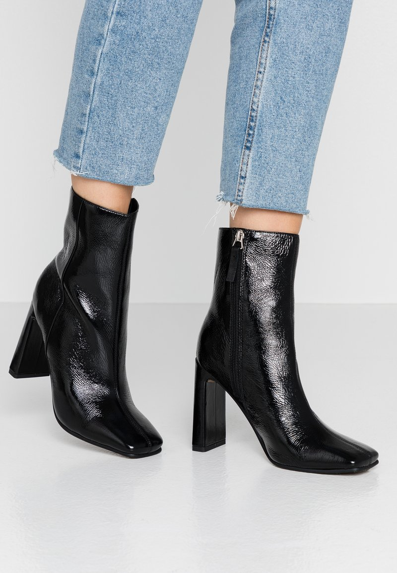Topshop - HALIA SQUARE TOE - High heeled ankle boots - black