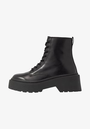 AUSTIN LACE UP BOOT - Platåstövletter - black