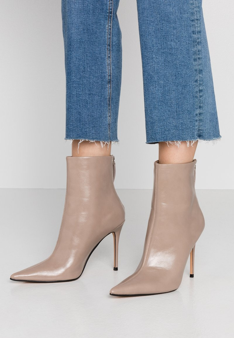 Topshop - EDA POINT BOOT - High heeled ankle boots - taupe/beige