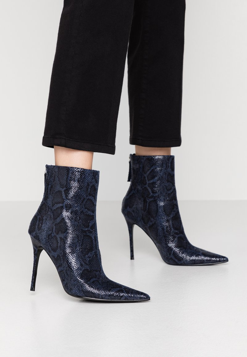 Topshop - EDA POINT BOOT - High heeled ankle boots - navy