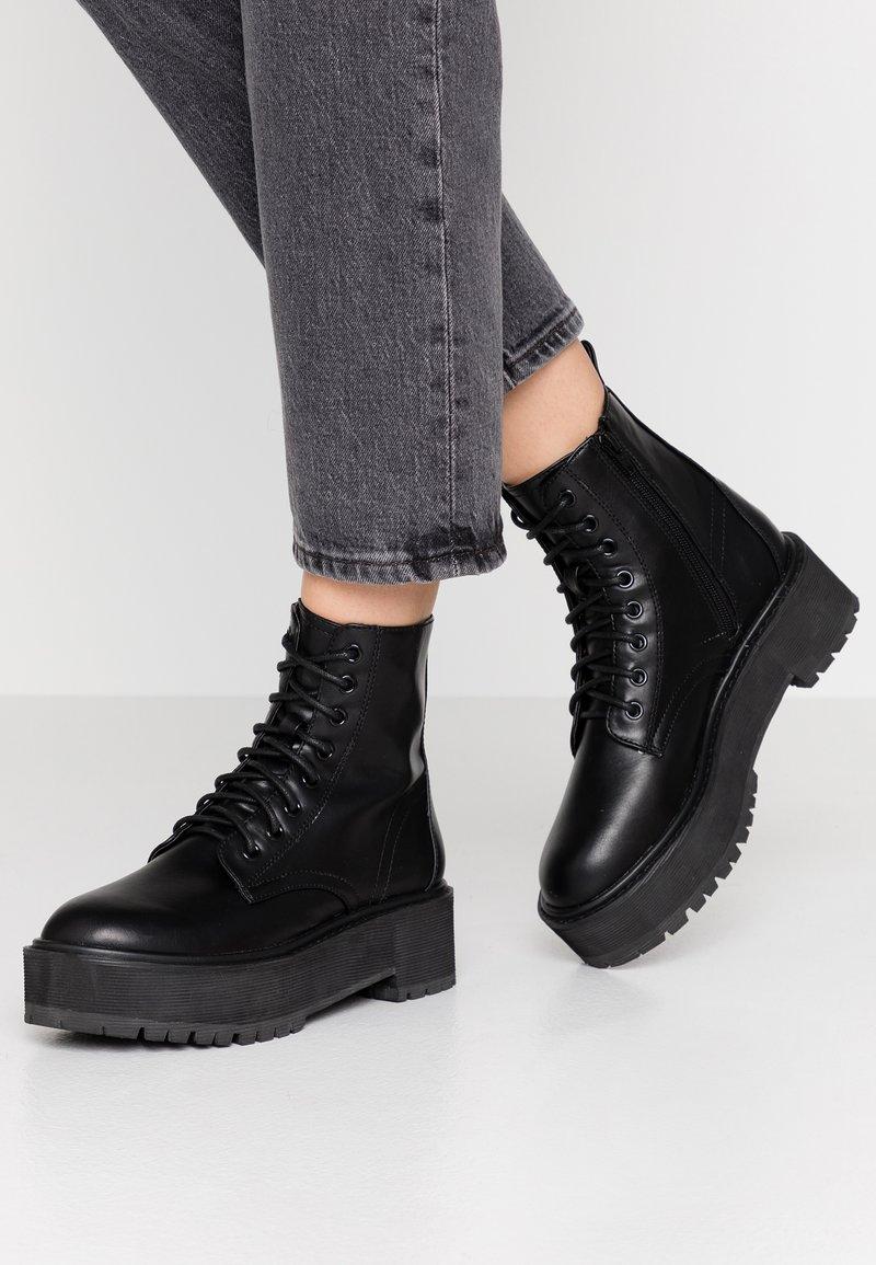 Topshop - BRAZEN CHUNKY BOOT - Platform ankle boots - black