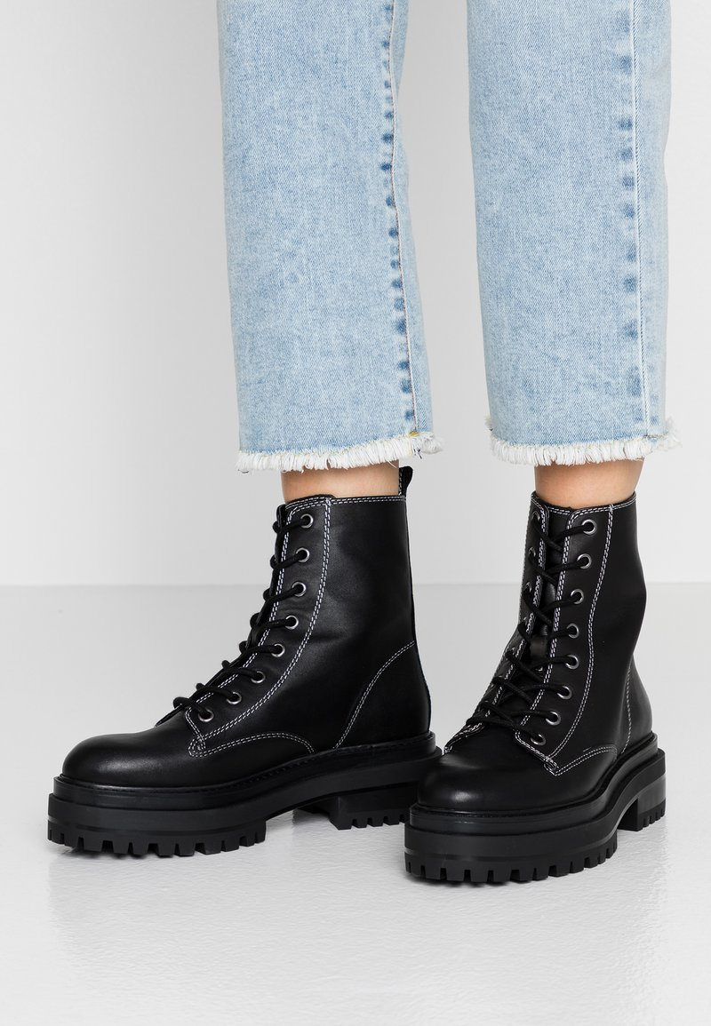 Topshop - ALANIS LACE UP BOOT - Platform ankle boots - black