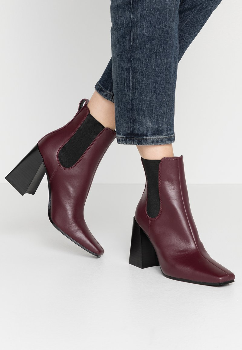 Topshop - HARBOUR CHELSEA - High heeled ankle boots - burgundy