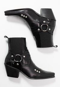 Topshop - MEXICO WESTERN BOOT - Cowboy/biker ankle boot - black - 3