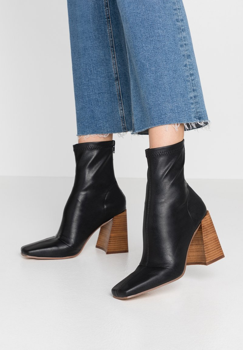 Topshop - HAMMOND SOCK BOOT - High heeled ankle boots - black