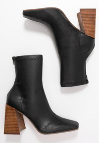 Topshop - HAMMOND SOCK BOOT - High heeled ankle boots - black - 3