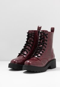 Topshop - KACY LACE UP BOOT - Platform ankle boots - burgundy - 4