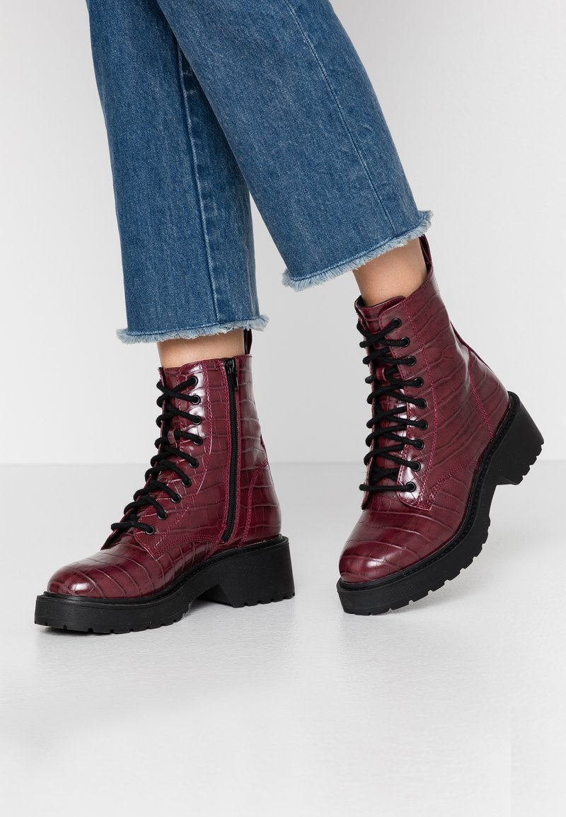 Topshop - KACY LACE UP BOOT - Platform ankle boots - burgundy