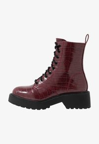 Topshop - KACY LACE UP BOOT - Platform ankle boots - burgundy - 1