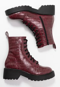 Topshop - KACY LACE UP BOOT - Platform ankle boots - burgundy - 3