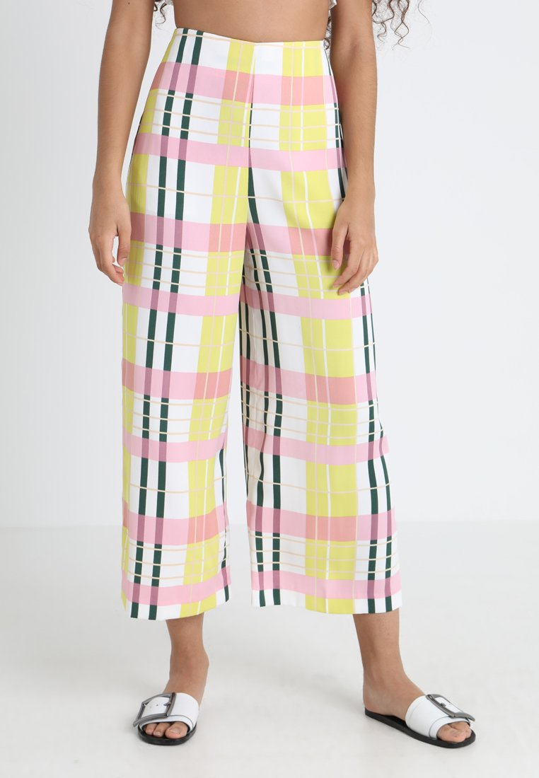 Topshop - BRIGHT CHECK CROP WIDE - Stoffhose - multi