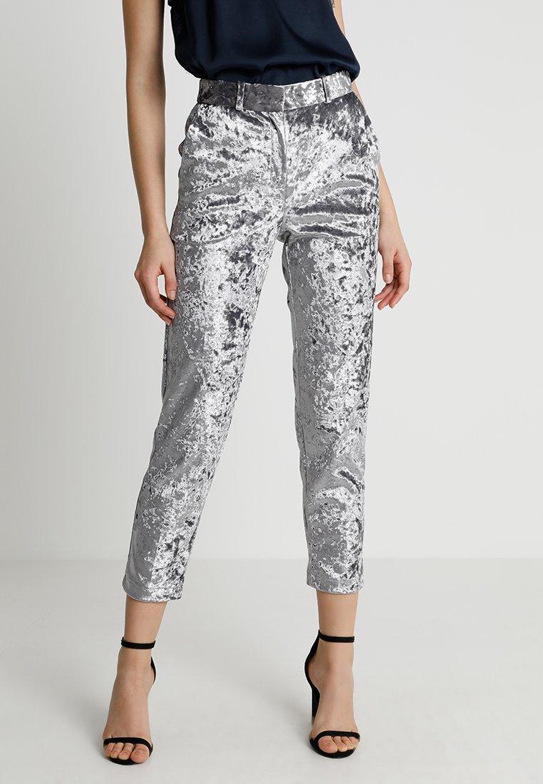 Topshop - BONDED TROUSER - Spodnie materiałowe - silver