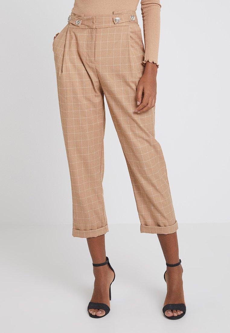 Topshop - CHECK TAPERED TRS - Spodnie materiałowe - camel
