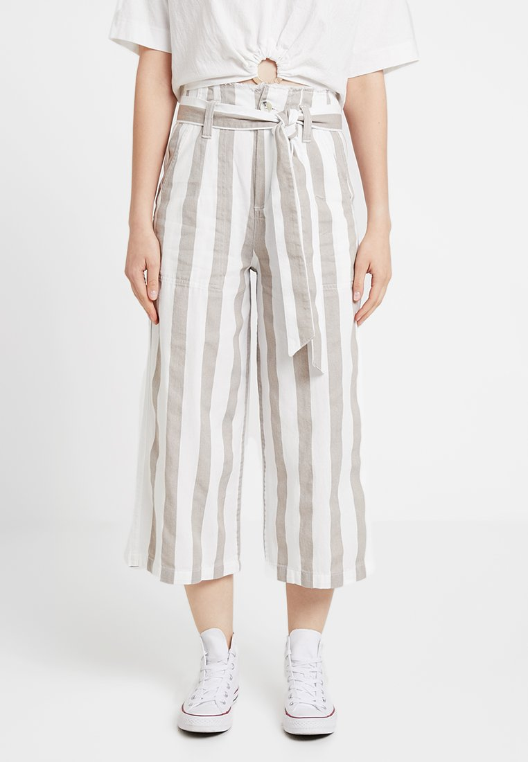 Topshop - STRIPE JASON - Trousers - sand/white