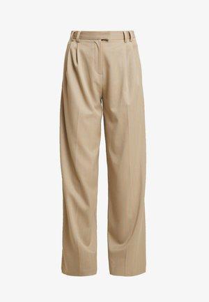 STRIPE WIDE LEG TROUSERS - Trousers - camel