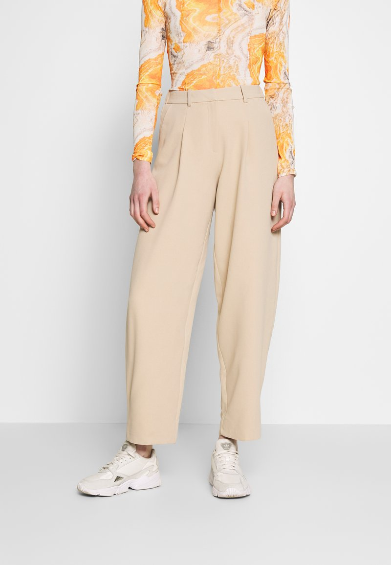 Topshop - ELASTIC BACK PEGGY SLOUCH - Trousers - stone
