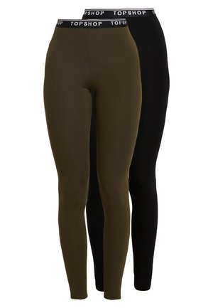 ELASTIC 2 PACK - Leggings - black/khaki