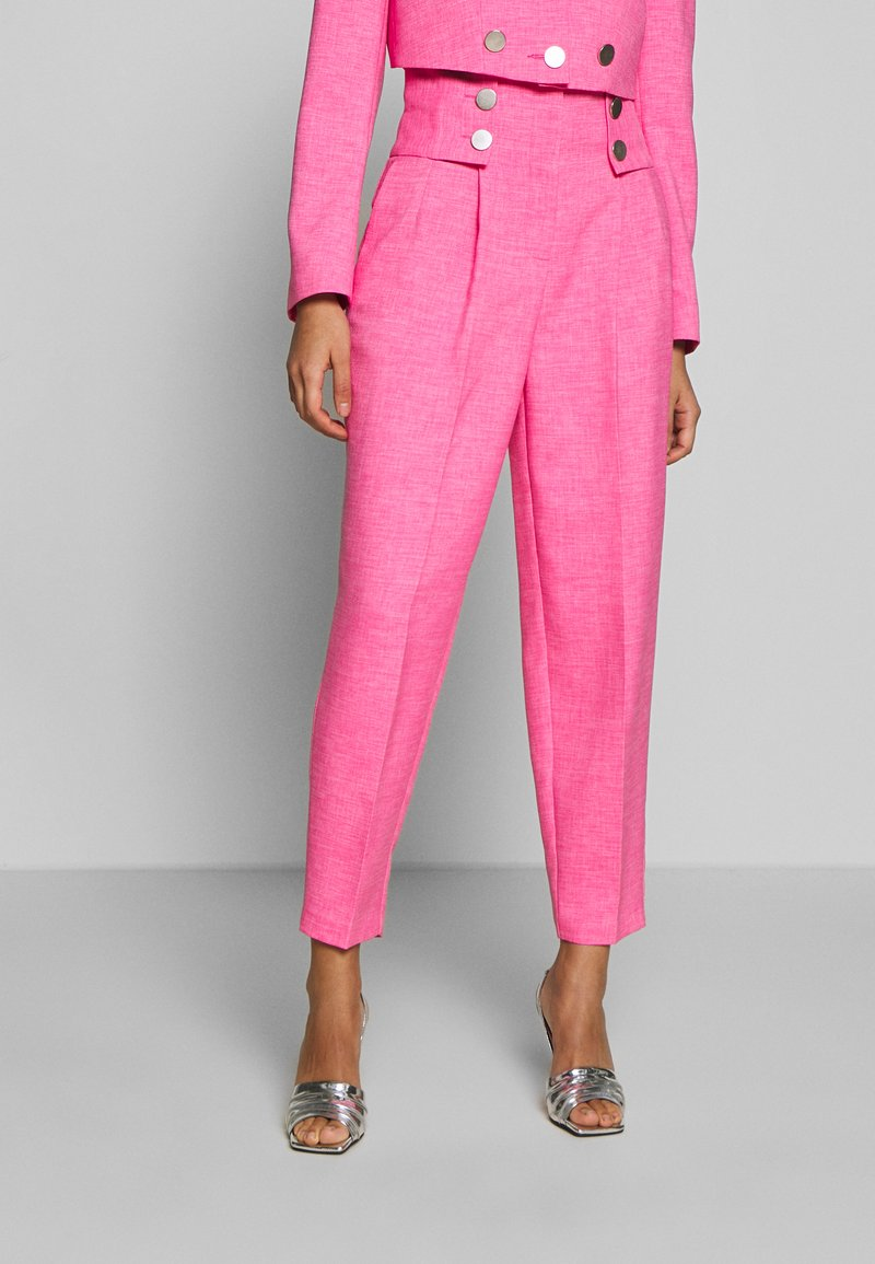 Topshop - PINK BUTTON DETAIL  - Trousers - pink