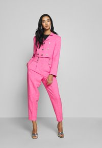 Topshop - PINK BUTTON DETAIL  - Trousers - pink - 1