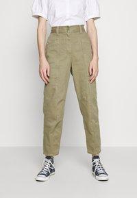Topshop - REESE UTILITY MENSY - Trousers - light khaki - 0