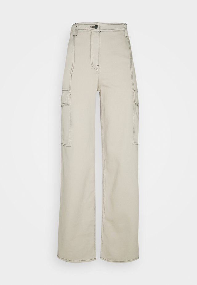 STRAIGHT LEG SIDE POCKET TROUSERS - Broek - stone