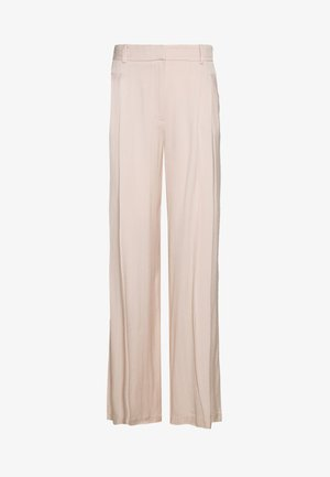 SELF STRIPE WIDE LEG - Trousers - nude